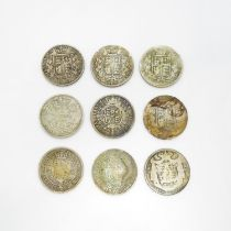 Victorian and Georgian half crowns x9 including 1817 1821 1874 x2 1878 1836 1893 and 1900