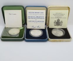 Royal Mint UK silver proof crowns for 1972 1980 and 1981 all in original cases with certs