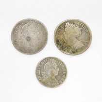 1714 William III shilling and 1897 sixpence