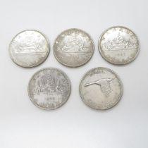 5x silver dollars 1961 1965 x2 1966 1967