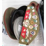 2x Russian military hats with lots of badges, 2x tin WWI French plates and set of Moroccan shoes
