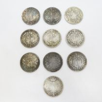 Victorian half crowns x10 1884 1889 1892 1876 1888 1881 1896 1891 1890 and 1895