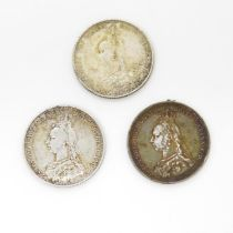 3x 1887 shillings - two very fine condition and one good - very fine
