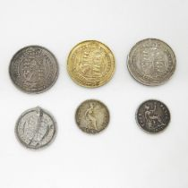 1825 and 1887 shillings both nice condition 1887 sixpence another 1887 shilling and 1837, 1834 groat