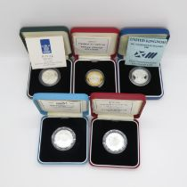 Royal Mint UK silver proof £200 1995 UN 1996 Games 1995 WWII 1996 Football and 1997 in original