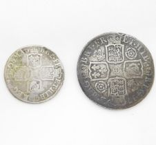 Queen Anne half crown 1712 and shilling 1708