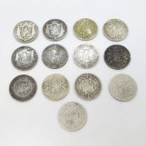 George III and William IV and Victorian half crowns 1819 1834 1836 1837 1889 x2 1892 x2 1898 1885