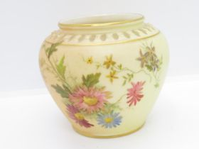 """Royal Worcester purple mark 2073 hand painted pot 3"""" high"""