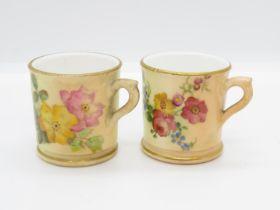"2x miniature Royal Worcester purple mark cups 1.5"" high 1.5"" dia."