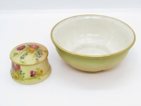 """Royal Worcester G89 pattern bowl 3.5"""" dia. along with miniature Royal Worcester pot 1"""" high with lid"""