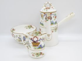 """3x pieces of Royal Worcester black mark hand painted coffee pot 6"""" high milk jug 2.5"""" high and sugar"""