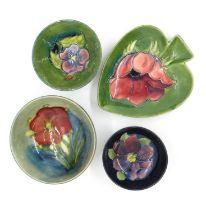 4x Moorcroft bowl and pin dishes