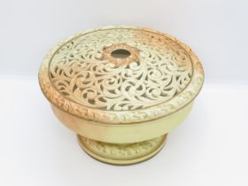 """Early mark Locke and Co. Shrubhill Works Worcester lidded bowl with pierced lid 4"""" high x 6.5"""" dia."""