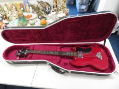 Epiphone Gibson bass guitar number SO1040835 with hard carry case