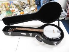 Banjo Guitar by Harley Bentan with hard carry case