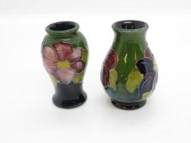 """2x miniature 2"""" Moorcroft vases"""