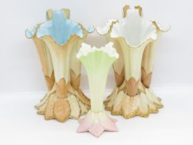 """3x Royal Worcester flower cases with early marks three triples and one single all 7"""" high"""