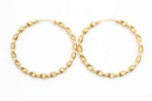 9ct gold vintage oversized twist hoop earrings (4.2g)
