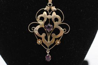 9ct gold antique amethyst lavalier pendant necklace (3.2g)