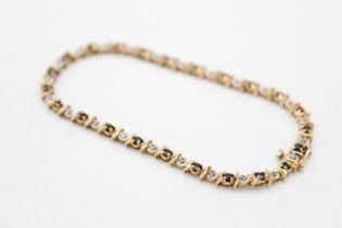 9ct gold vintage sapphire & diamond tennis bracelet (6.6g)