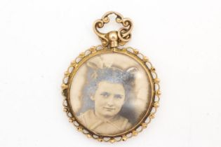 9ct gold antique double sided canetille border photo locket (5g)
