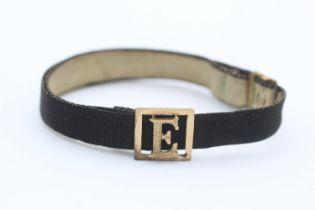 9ct gold initial monogram antique fabric mourning bracelet (2.4g)