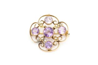 9ct gold antique amethyst & seed pearl lavalier pendant brooch (4.3g)