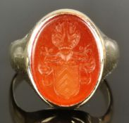 Crest ring, ring head set with oval carnelian, engraved with a noble coat of arms (crest with