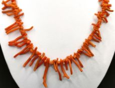 Coral bar necklace with spring ring clasp, length 49cm