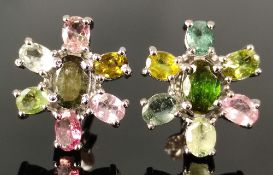 Multicolor tourmaline earrings, stud earrings worked in flower shape and set with faceted