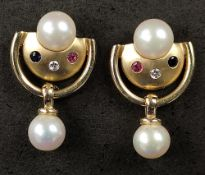 Pair of exclusive stud earrings, semicircle element with pearl pendant, decorated with small