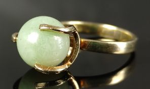 Exceptional ring, centered with aventurine ball, set in 585/14K yellow gold, 1930/40s, total