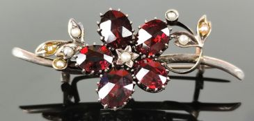 Brooch, silver 800, micro pearls, faceted garnets, silver 800, beginning of 20th century, total