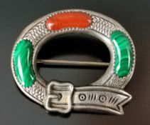 Brooch as a belt, set with malachite and agate, silver 925, around 1930, 11,7g, size 3x2,3cm