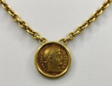 Anchor chain, square, 750/18K yellow gold, with gilt bronze follis from the beginning of the 4th
