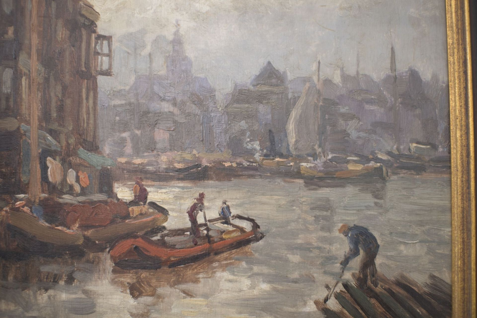 """Artist late 19th century """"Impressionist view of a Dutch port city"""" - Image 3 of 5"""
