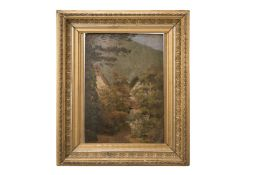 Impressionistic view of two houses by a river, late 19th century