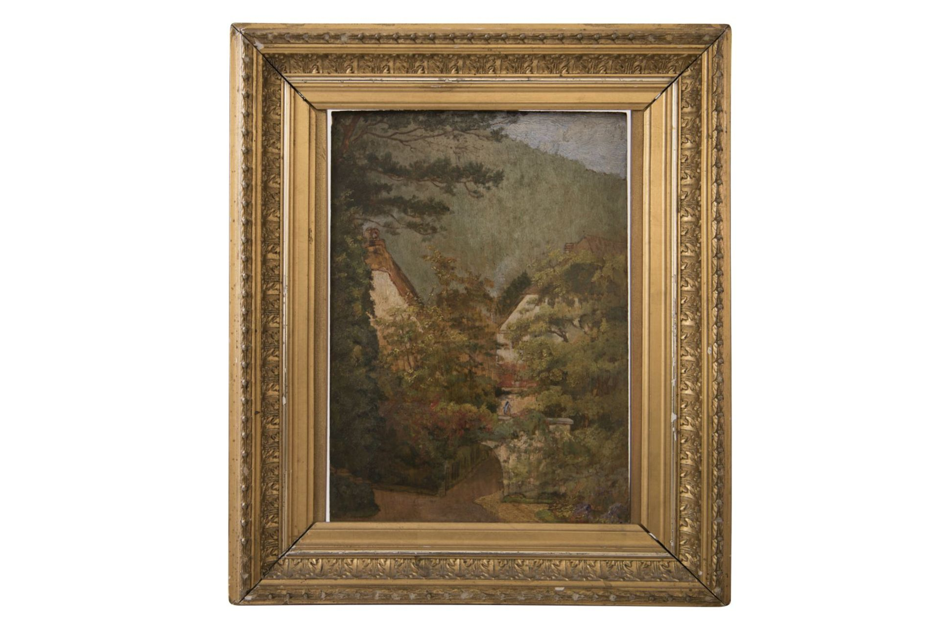Impressionistic view of two houses by a river, late 19th century - Image 6 of 6