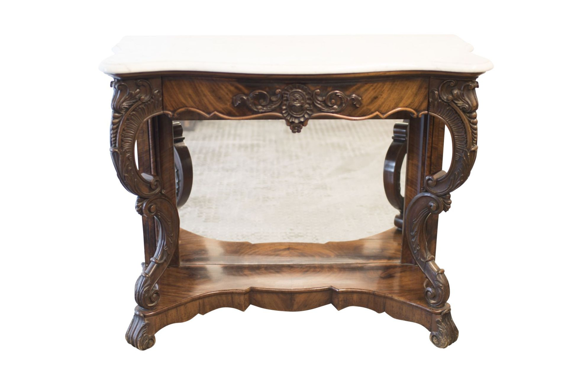 Baroque Buffet with Mirror and Marble Top - Bild 6 aus 6
