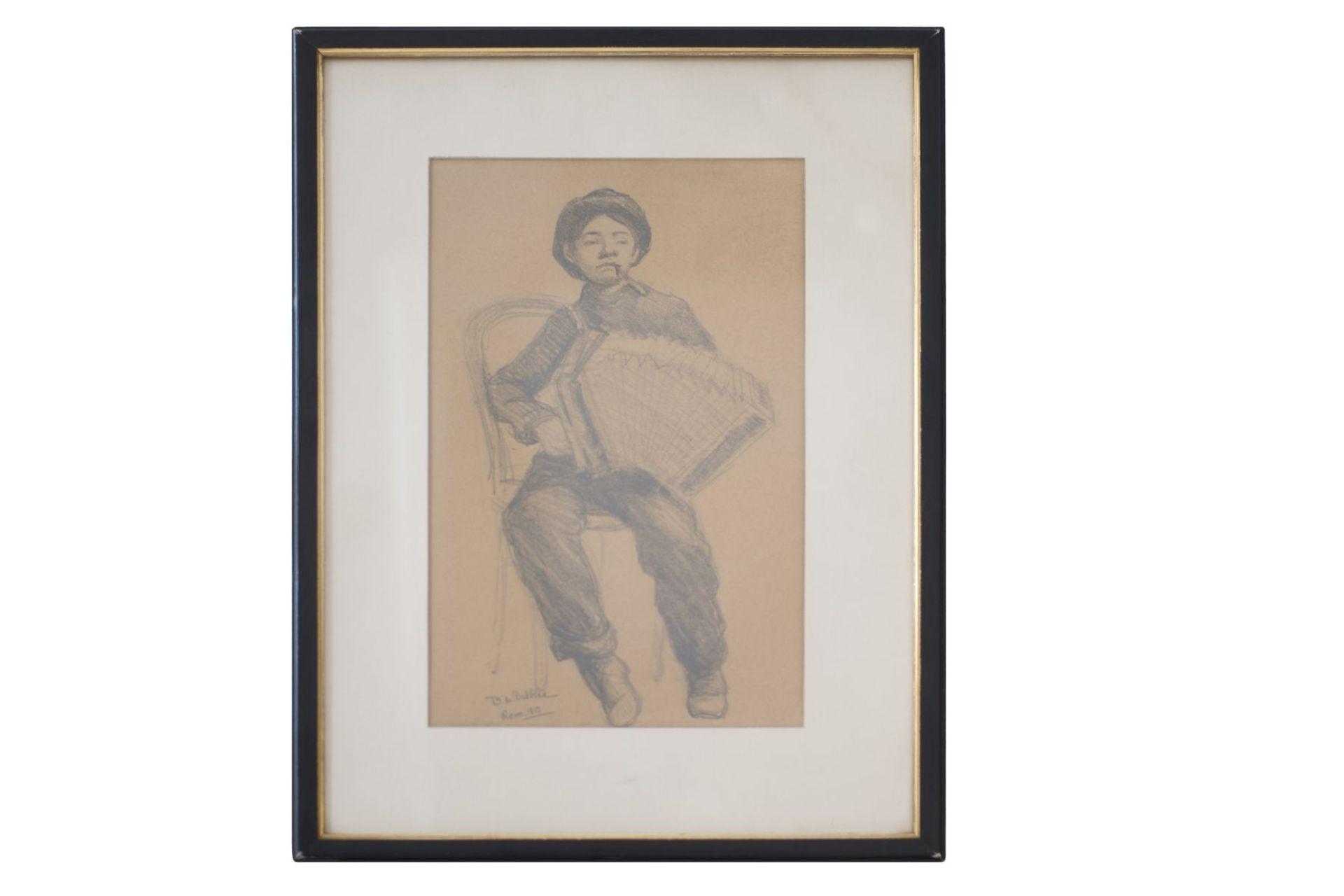"B.M. Dibbleo Rome 1910 ""Harmonica player"""