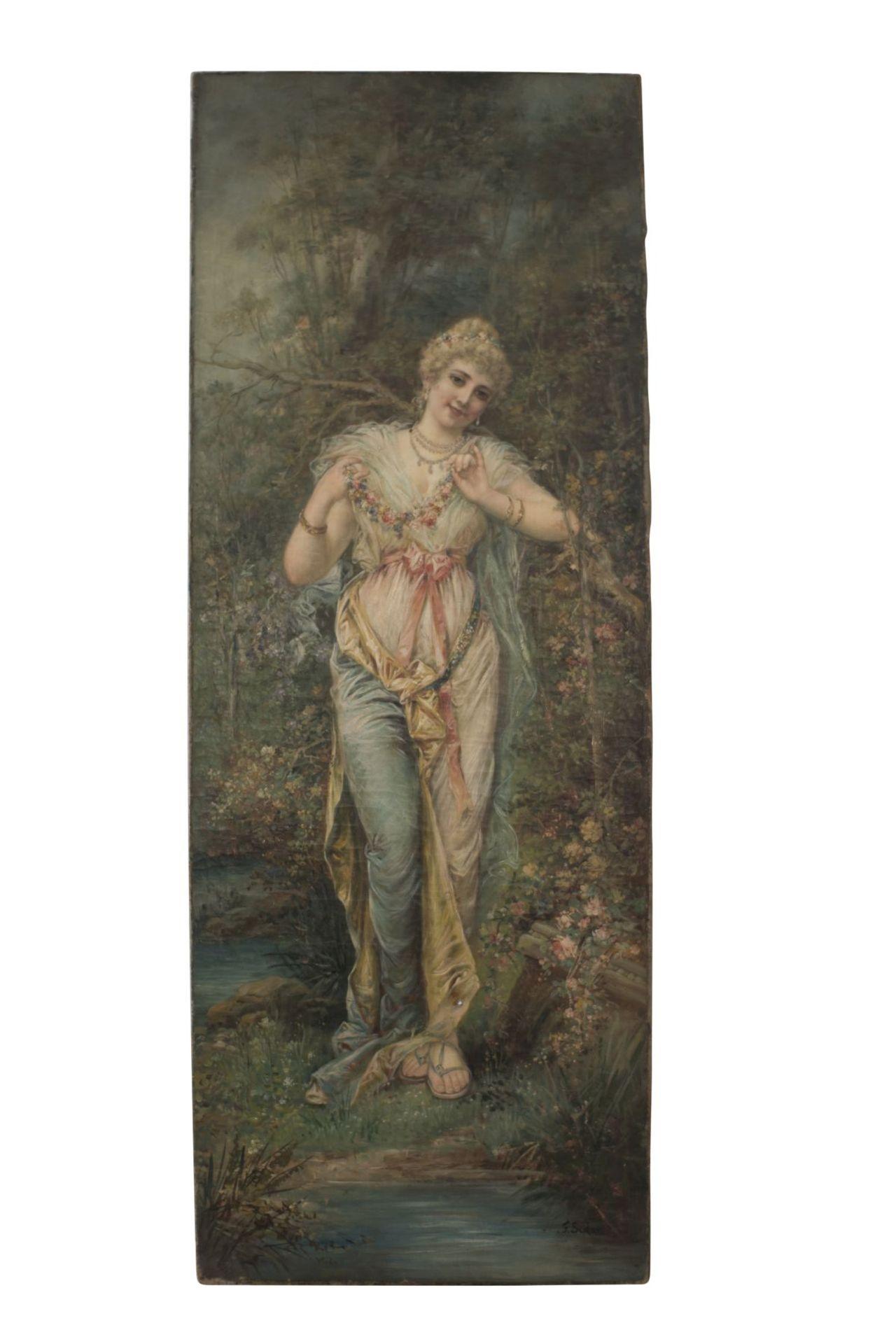 "Hans Zatzka (1859-1945) School ""Lady with flower garland"""