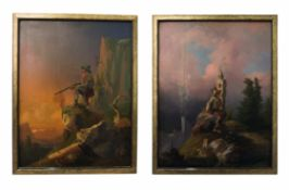 """Painter from the circle Friedrich Gauermann """"Hunter in the high mountains"""""""