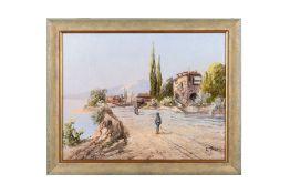 """E.Trassi around 1900 """"Italian Coastal Landscape"""""""