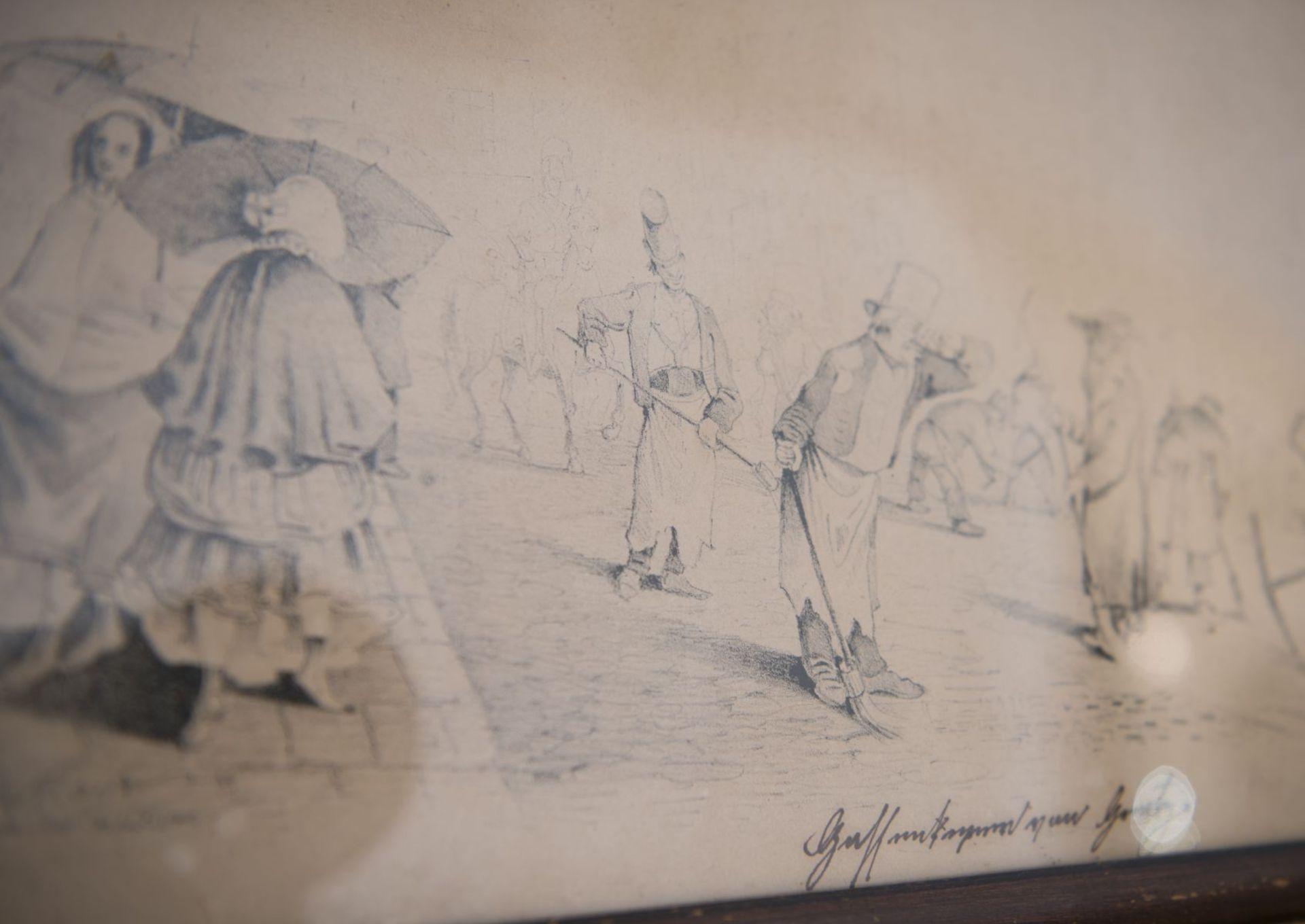 "Artist around 1830 ""Street scene from the Biedermeier period"" - Image 3 of 4"
