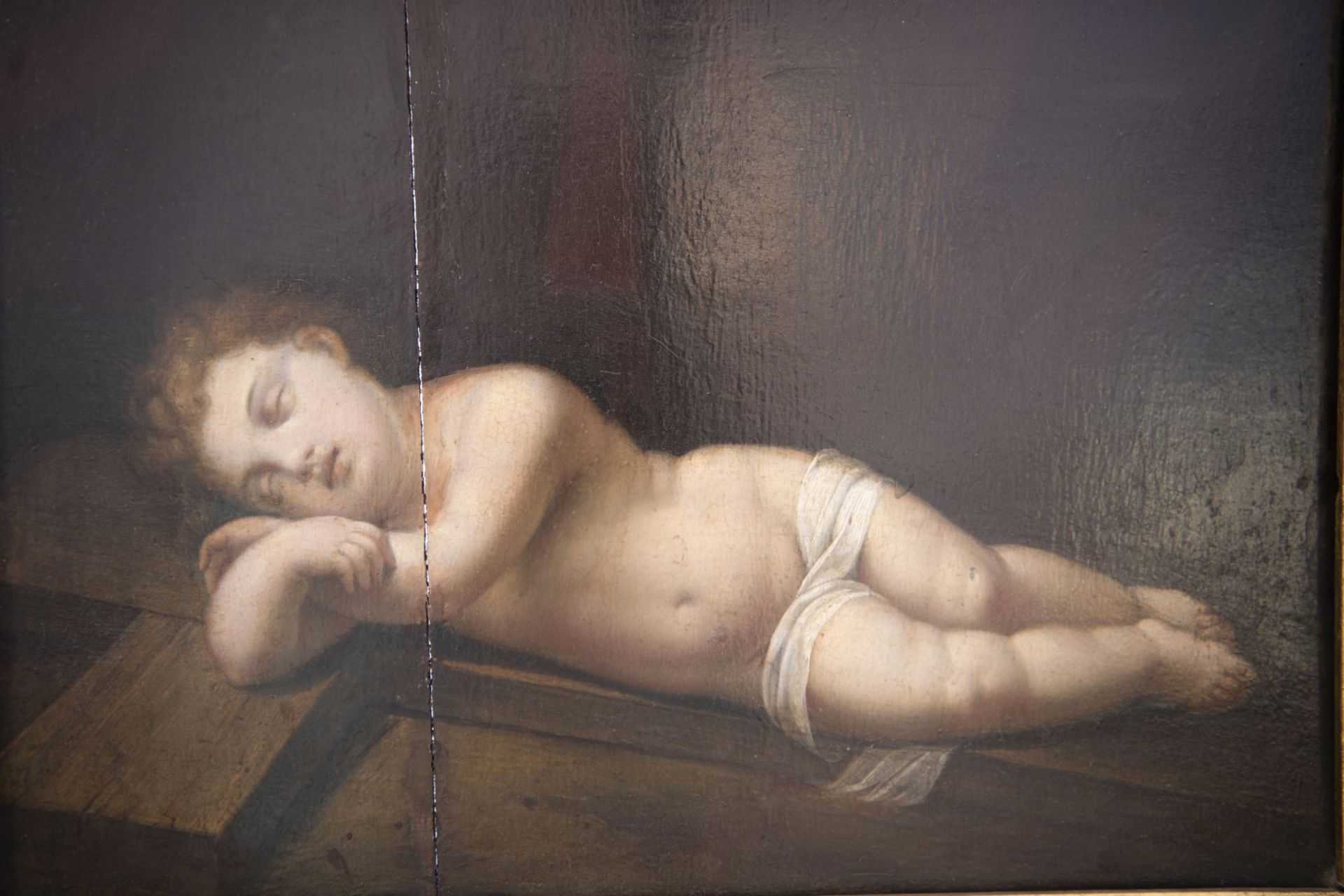 """French painter of the 19th century """"Sleeping baby Jesus with cross"""" - Image 3 of 6"""