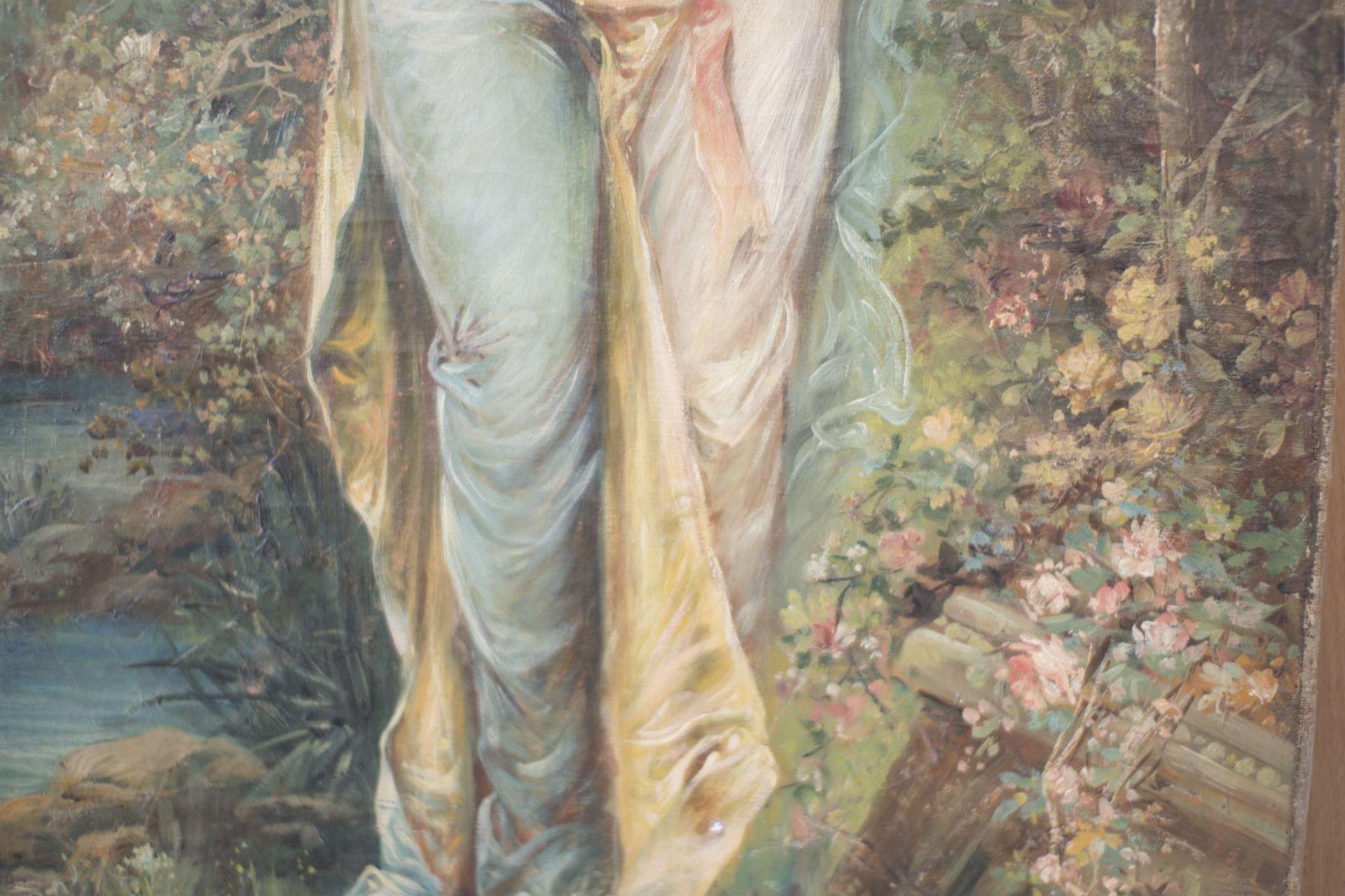 "Hans Zatzka (1859-1945) School ""Lady with flower garland"" - Image 4 of 5"