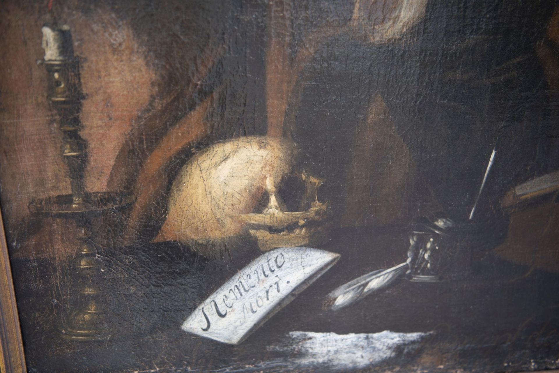 "German painter around 1720 ""Doctor with hourglass, Memento Mori"" - Image 4 of 6"