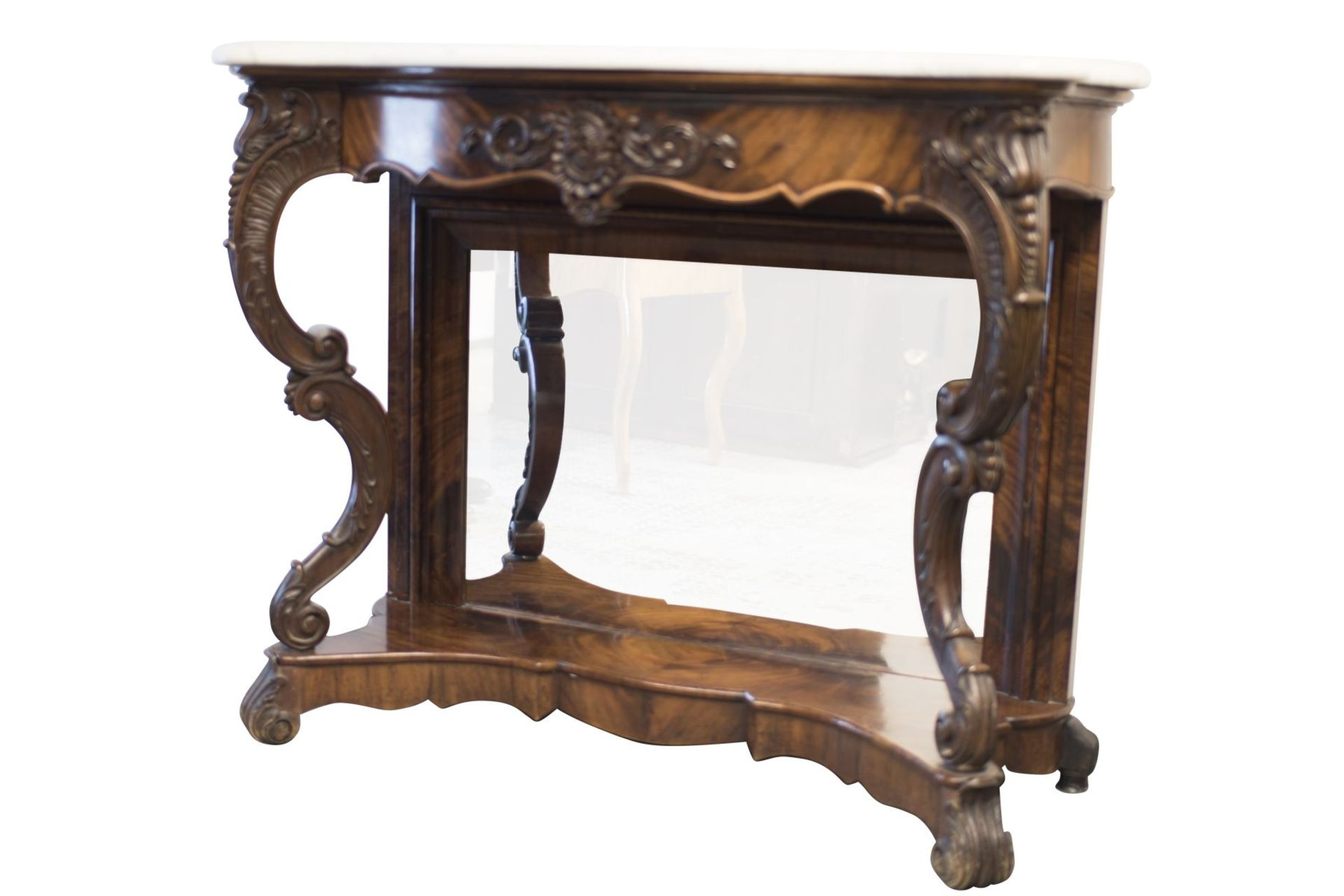 Baroque Buffet with Mirror and Marble Top - Bild 2 aus 6