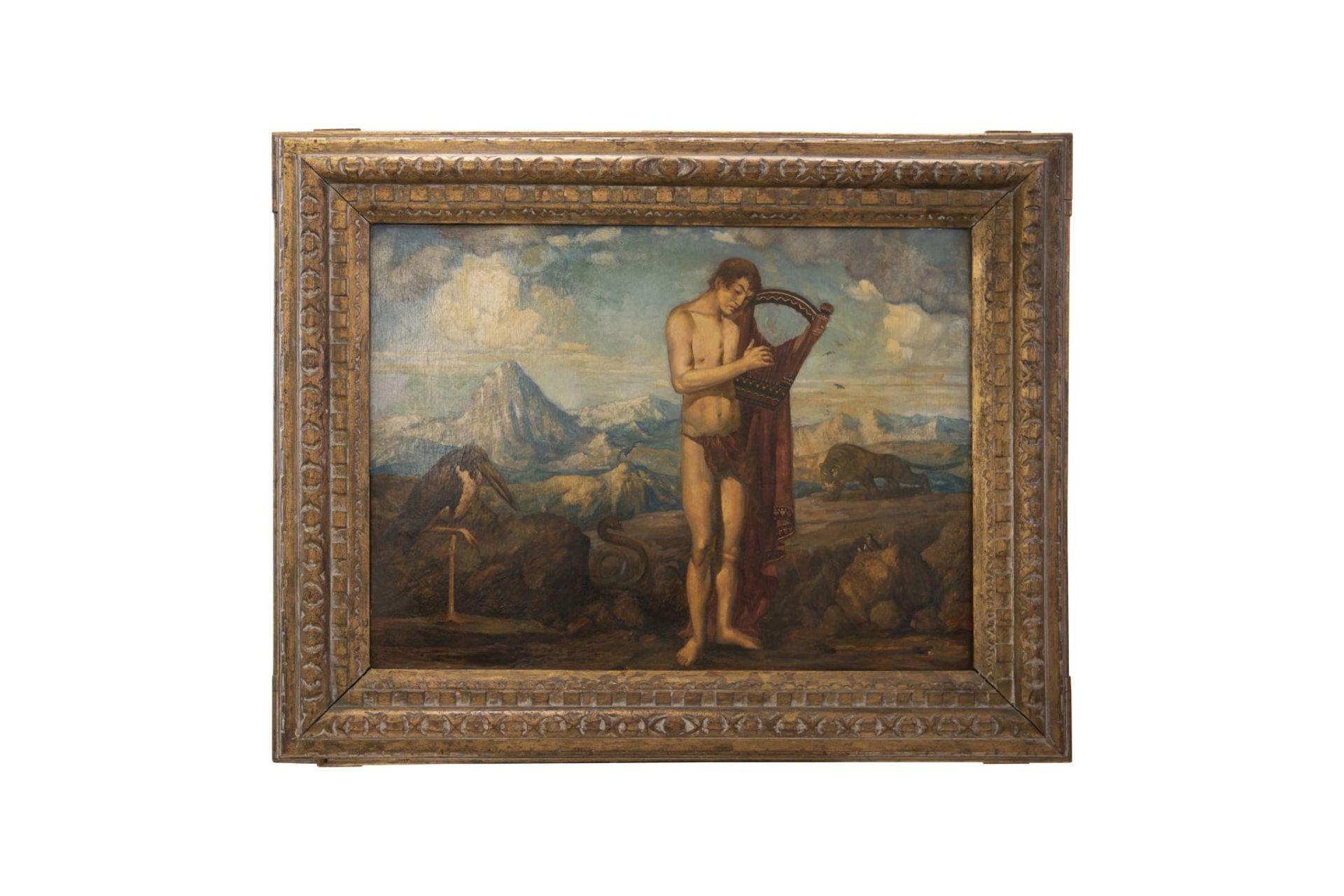 """Franz von Stuck circle Munich around 1900 """" Young man with the lyre"""""""