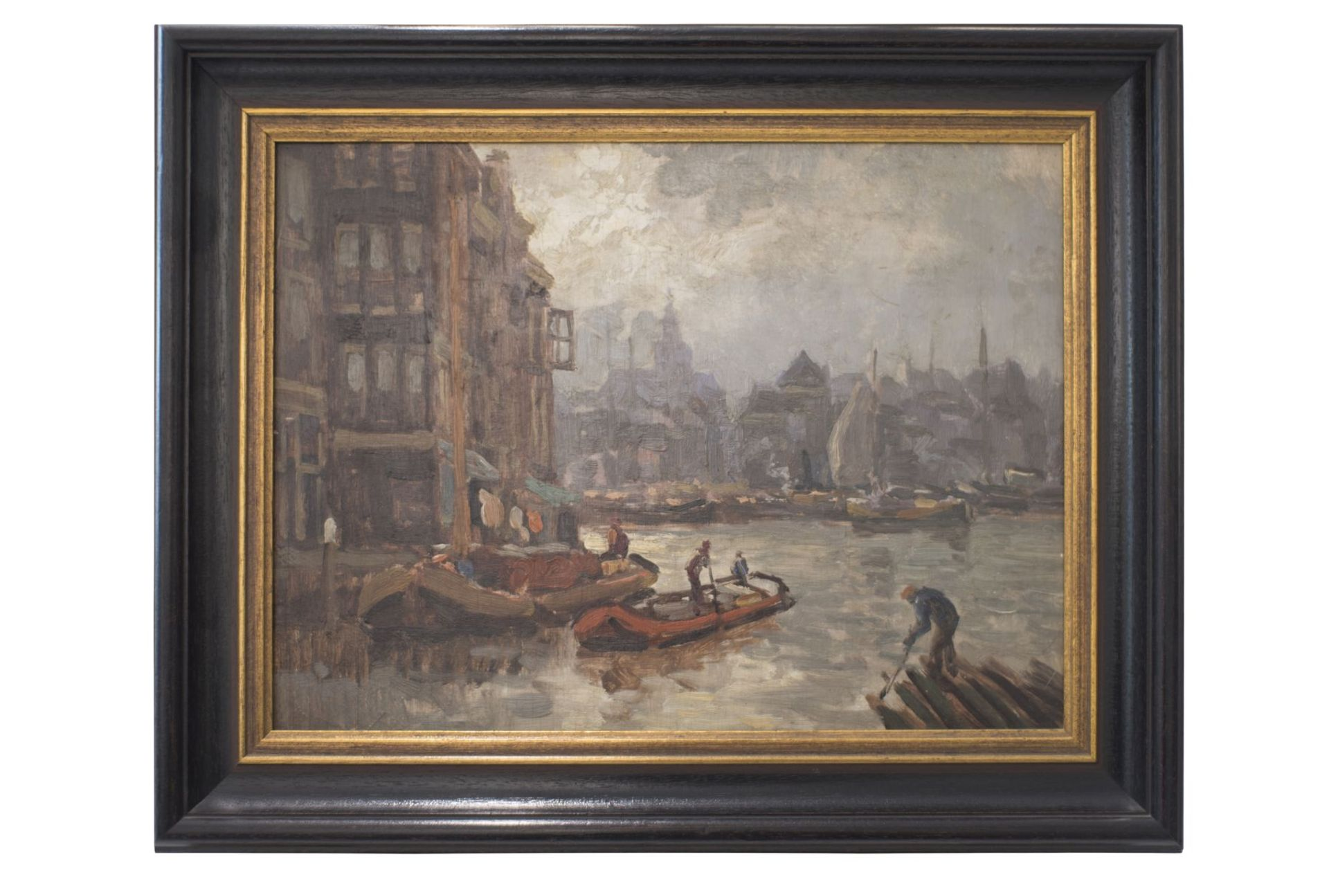 """Artist late 19th century """"Impressionist view of a Dutch port city"""""""